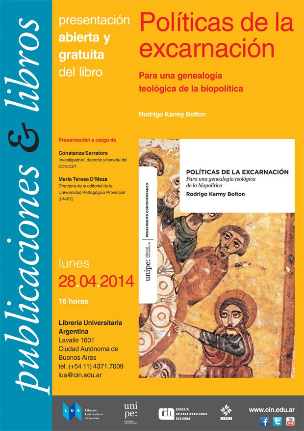 afiche libro Políticas de la excarnación